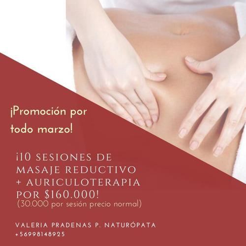 10 sesiones de masaje reductivo + auriculoterapia