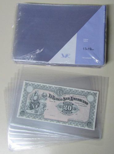 10 sobres plásticos protectores p/ billetes 13 x 19 marca vk