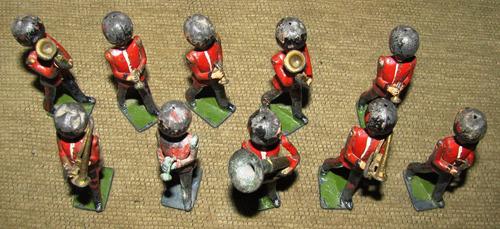 10 soldados de plomo orquesta militar con brazos articulados