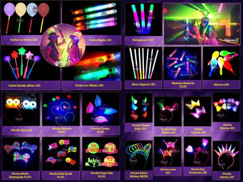 10 sorbete neon bombilla pajita cotillon luminoso combo vaso
