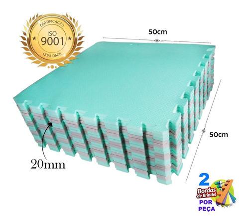 10 tapete tatame eva 20mm 50x50 bebê engatinhar verde cinza