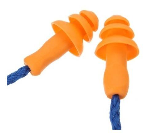10 tapones para oidos tipo industriales con cordon 3m reusables