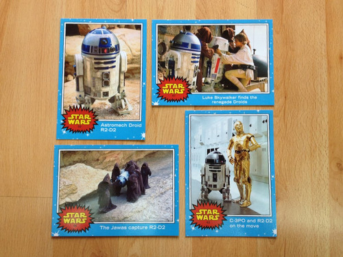 10 tarjetas gigantes star wars c3po r2 d2  sdcc force awaken