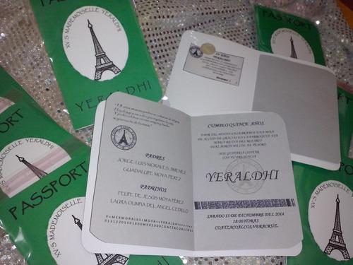10 Tarjetas Invitacion 15 Años Cumpleaños Modelo Pasaporte