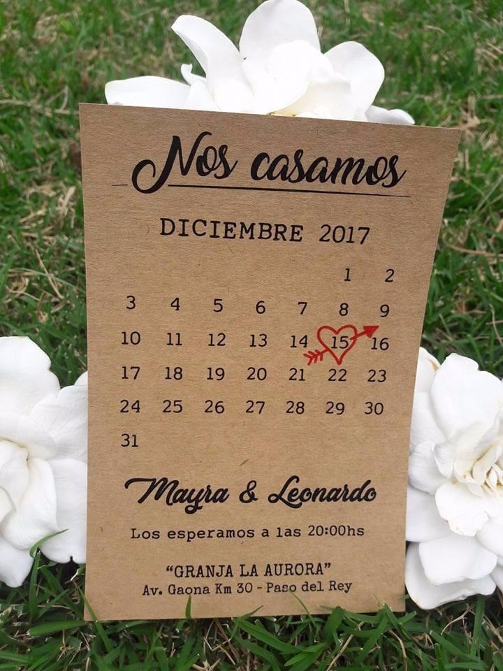 10 Tarjetas Invitación Casamiento Papel Madera Kraft Vintage