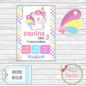 10 Tarjetas Invitación Cumple Unicornio Sticker Banderín