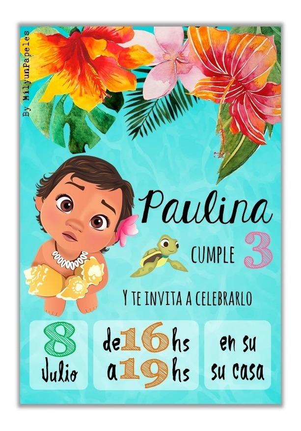 10 Tarjetas Invitación Cumpleaños Moana Baby