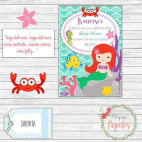 10 Tarjetas Invitación Cumpleaños Sirenita Little Mermaid