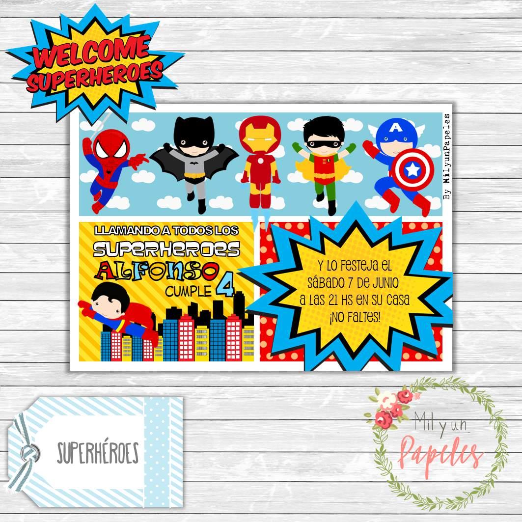 10 Tarjetas Invitación Cumpleaños Superhéroes