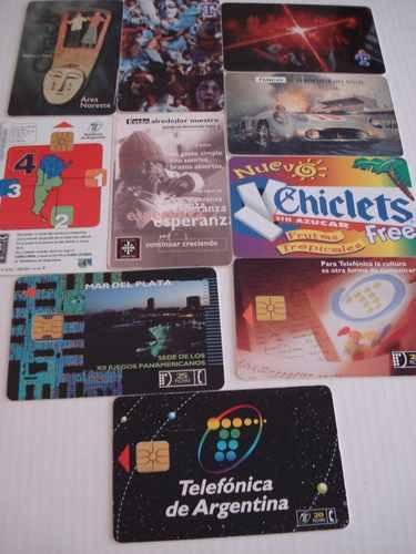 10 tarjetas telefonicas de telefonica de argentina