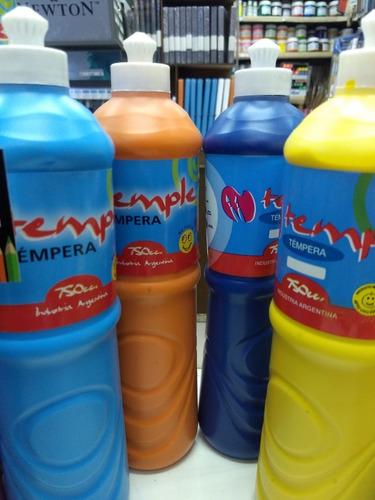 10 temperas pote 750ml varios colores temple escuela/ jardín