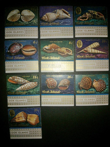 10 timbres postales marinos cook islands