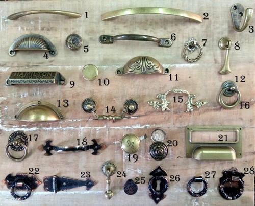 10 tiradores de bronce viejo varios modelos herrajes cajón
