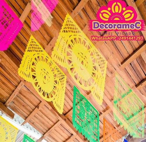 10 tiras papel picado fiesta mexicana plastico decoramec