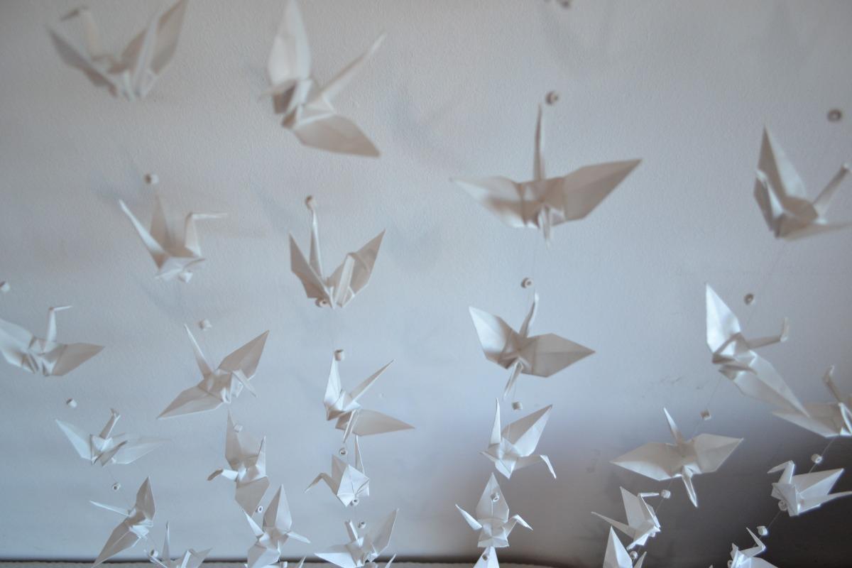 10 Tiras X10 Grullas Blancas Casamientos Decoración Origami