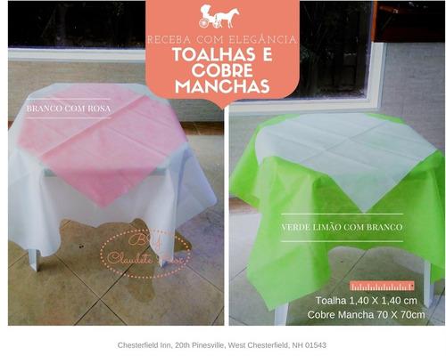 10 toalhas tnt colorida + 10 cobre manchas p chá de bebê