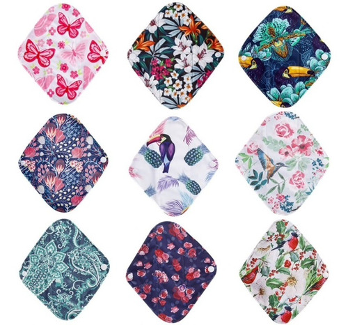 10 toalla femenina menstrual ecológica tela flujo moderado