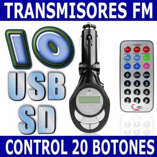 10 transmisores fm 4 en 1 usb sd mp3 mp4 envio gratis