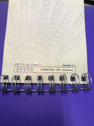 10 un. espiral wire-o 5/8 branco -120 fls passo 2:1 a 15,9mm