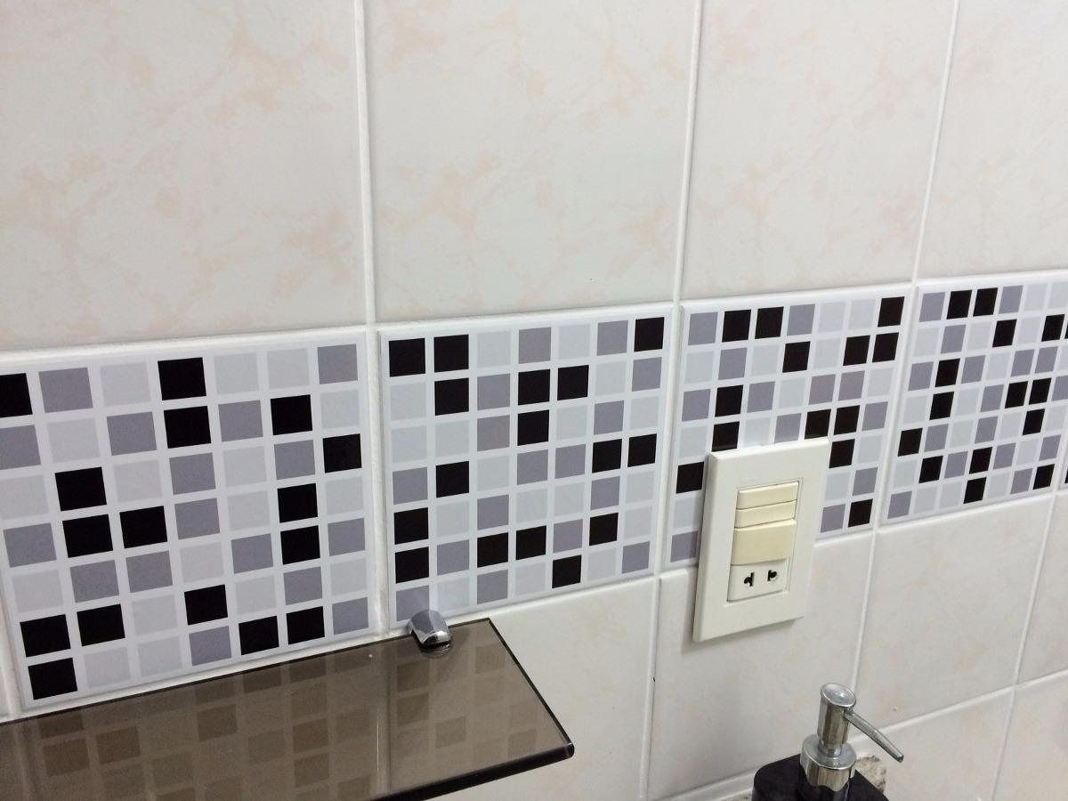Adesivo Pastilha Azulejo Banheiro ~ 10 Und Adesivo Azulejo Pastilha Cozinha Banheiro Placa