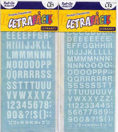 10 uni letra fácil transferíveis - letraset letrafácil
