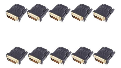 10 unidades adaptador dvi x hdmi, conector dvi macho 24+1 para hdmi lote com 10 un.