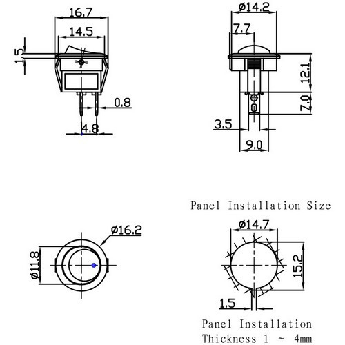10 unids chave gangorra preta 2 pinos g114 3a / 250v kcd11