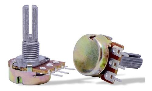 10 unids potenciômetro giratório estriado l20 / 16mm 10kb