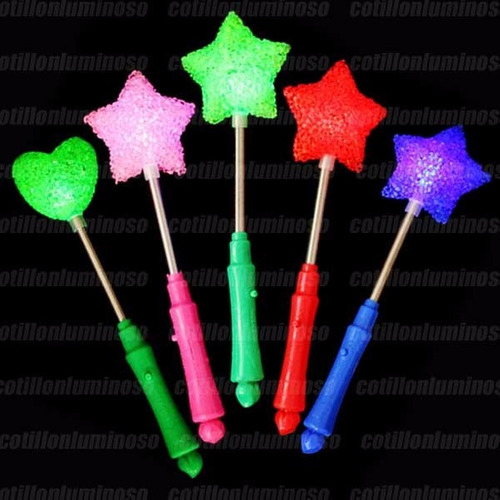 10 varita led estrella corazon cotillon luminoso carioca