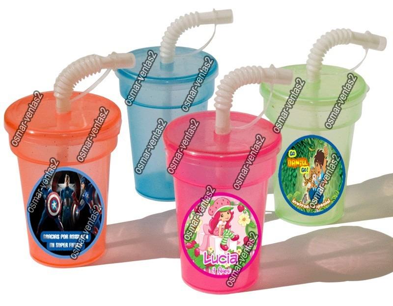 10 vasitos con popote para fiestas infantiles personalizados en mercado libre - Vasos personalizados ...