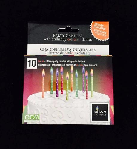 10 velas con llama de color y estrellitas!! velitas cumple