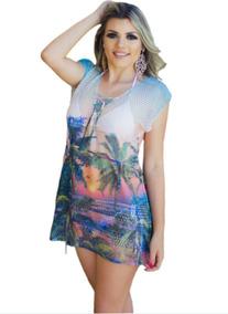 1cfcae33e 10 Vestido Saida De Praia Tricot Estampadas Atacado Kit C/10