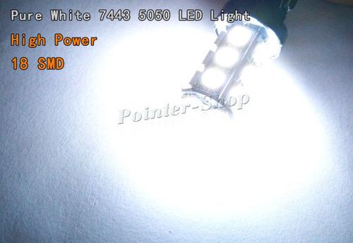 10 x blanco 7443 5050 18smd led bombillas cola freno stop