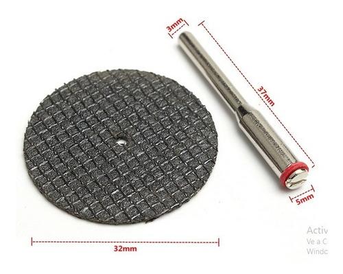 10 x hss disco de corte 32mm + mandril accesorios dremel