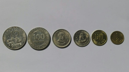 100, 10, 5, 1, 1/2  soles de oro y un inti - moneda de perú