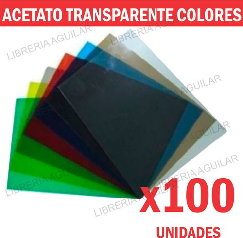 100 acetato laminas de 50x70cm cristal transparente colores