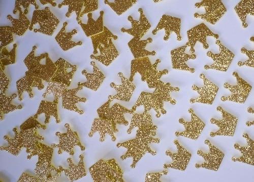 100 apliques coroa eva lembrancinhas  princesa dourada