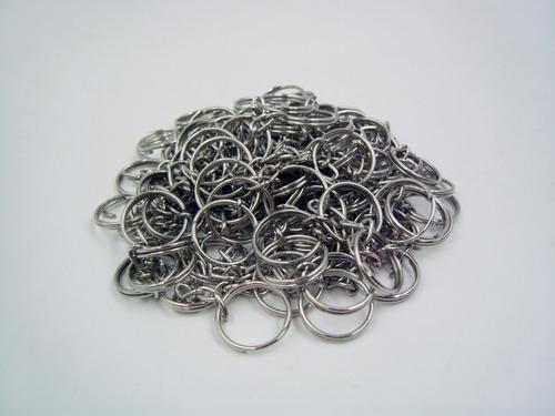 100 argollas con cadena para llaveros herraje niquelados