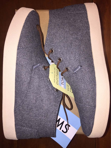 100% auténtico toms paseo mid sneaker grey size 8 importado
