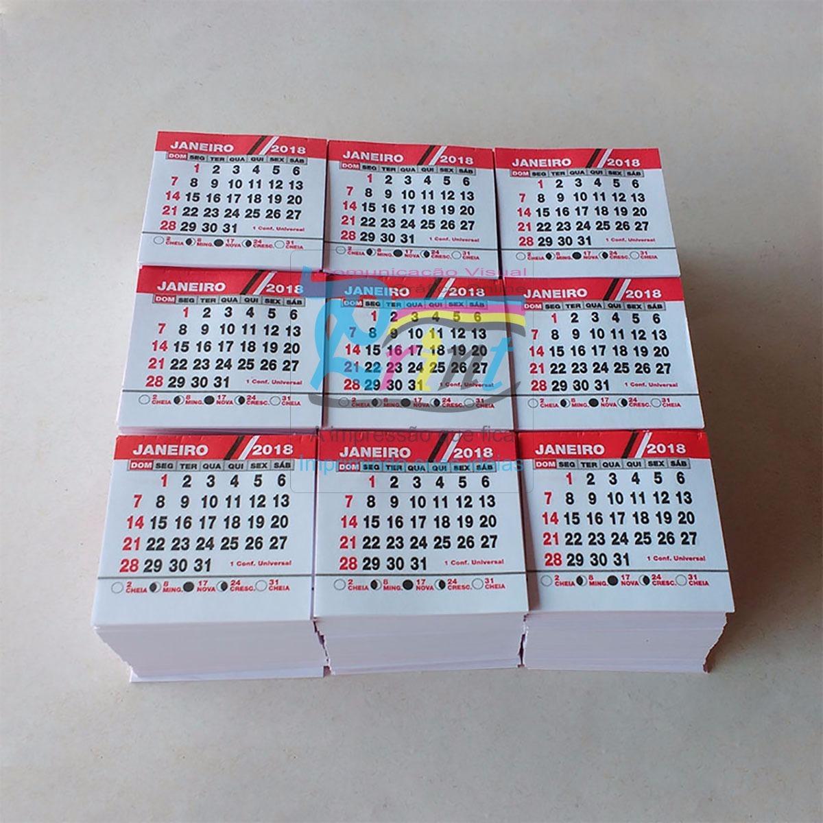 Mini Calendario.100 Blocos Mini Calendario 2019 2x0 Para Personalizar