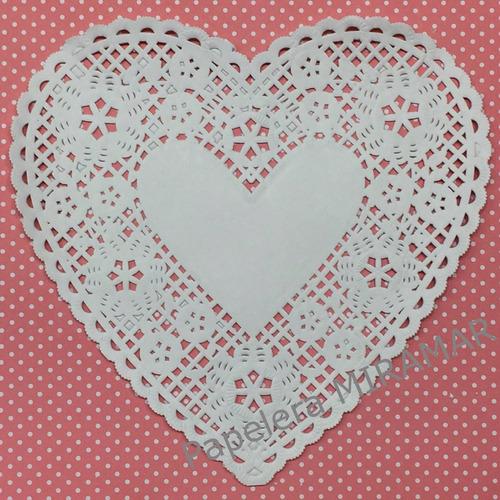 100 blondas papel corazon caladas 20cm - papelera miramar