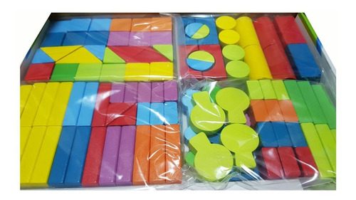 100 bloques de madera armatodo didáctico + stickers granja
