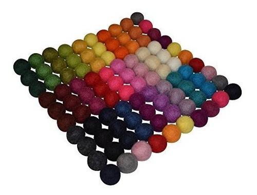 100% bolas de fieltro de lana - 100 piezas   pompones