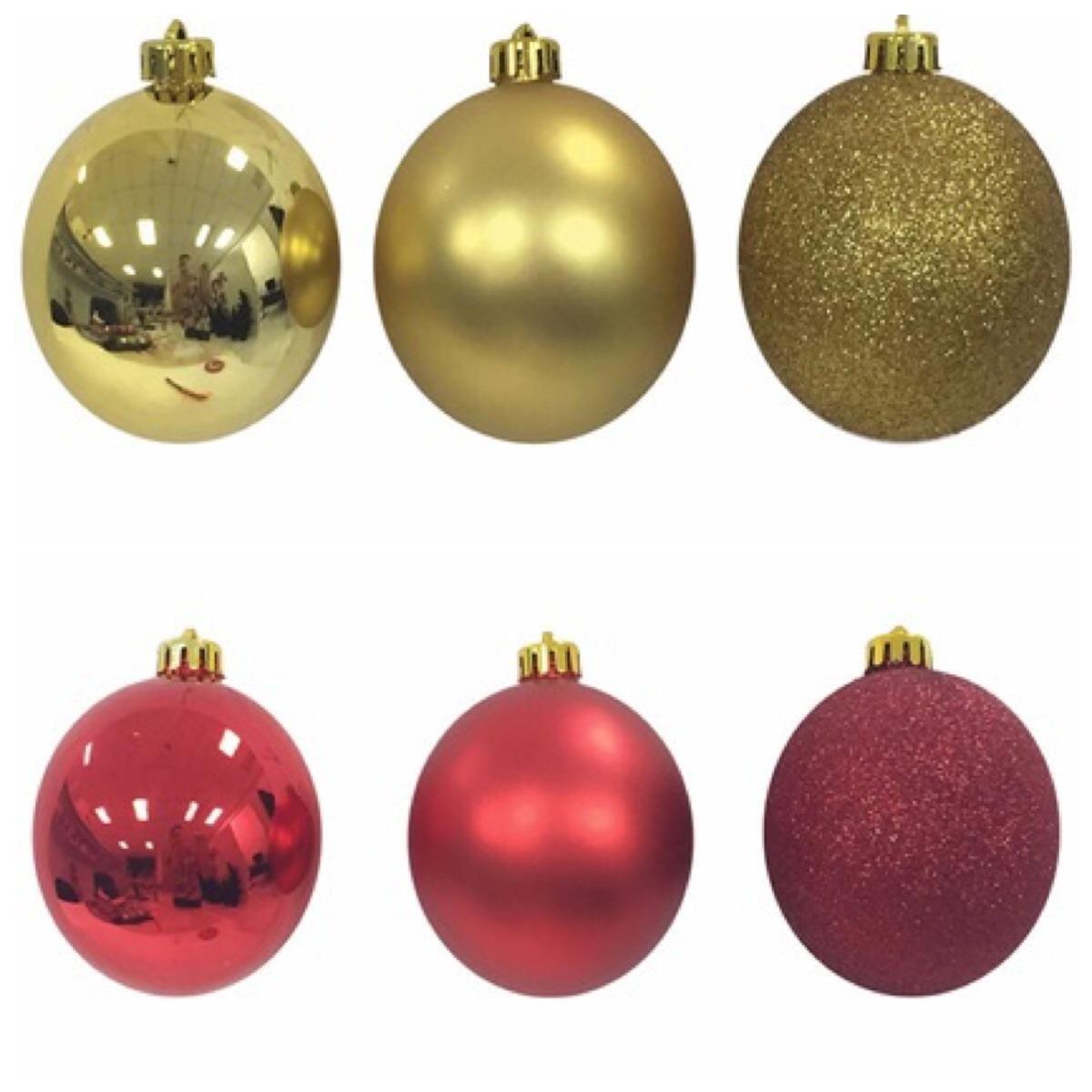 decoracao arvore de natal vermelha e dourada:100 Bolas Ornamentais Arvore Natal Vermelha E Dourada 8cm – R$ 319,00