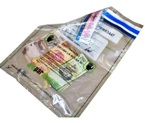 100 bolsas alta seguridad dinero valores. reciclables void.