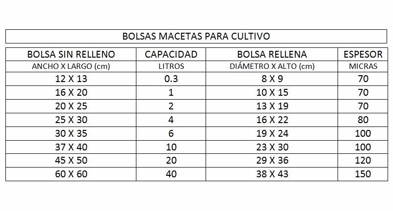 100 bolsas de cultivo de 6 litros (macetas plantines plantas