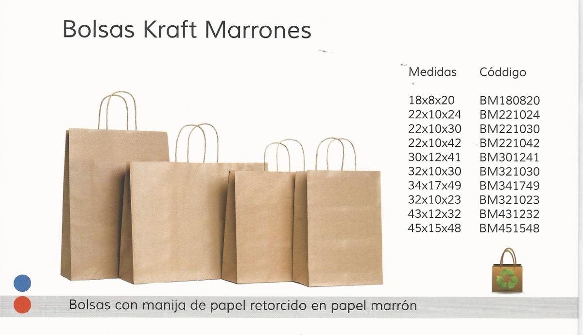 1a49b7b59 100 Bolsas De Papel Kraft Marron C/manija 22 X 10 X 30 - $ 750,00 en ...