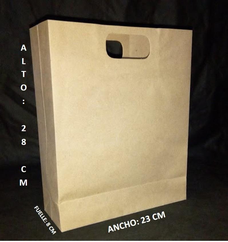 db1fa0a11 100 bolsas papel kraft 120 gr asa troquelada 28x23x8 cm. Cargando zoom.