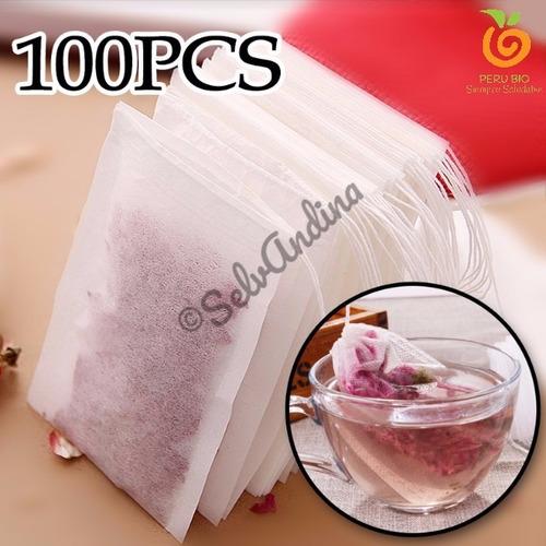 100 bolsitas filtrantes para té, para infusiones, blanco.