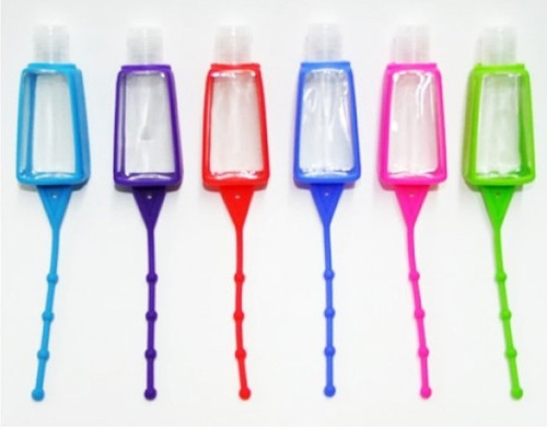 100 botellita con gel antibacterial 30ml funda silicon holde